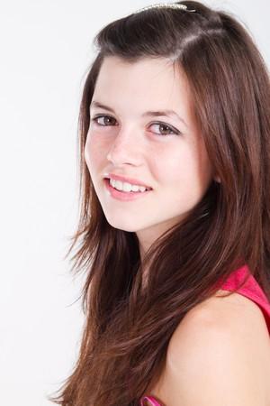 school teens: Retrato de una hermosa ni�a adolescente natural