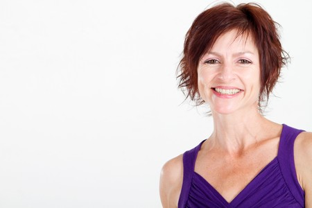 kind: portrait of happy middle aged woman Stock Photo