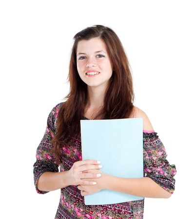 pretty teen girl reading book photo