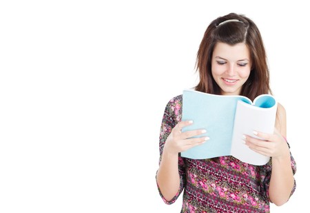 spunky: pretty teen girl reading book Stock Photo
