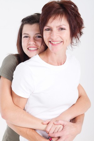 happy mother and daughter hugging photo