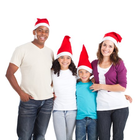 happy family wearing santa hats photo