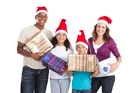 interracial family: happy young xmas family holding gifts