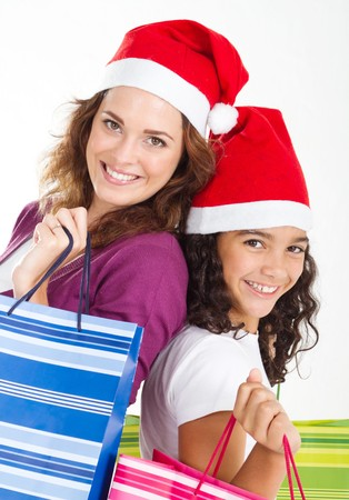 mother and daughter with christmas gifts photo