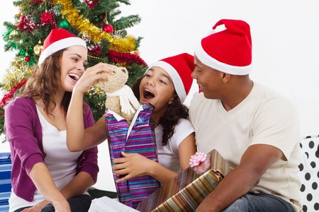 open present: happy family opening christmas presents