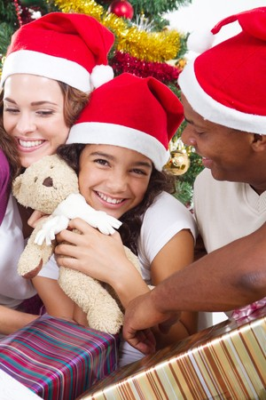joyful family on christmas morning photo