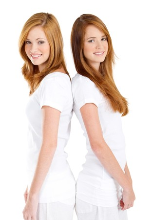 teen sisters back to back Stock Photo - 8112289