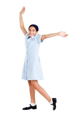 happy schoolgirl in uniform photo