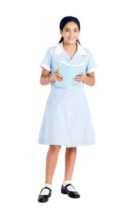 elementary girl student holding textbook Stock Photo - 8196917