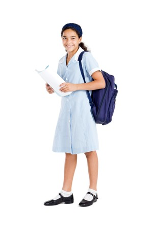 uniform student: happy school student holding backpack and books