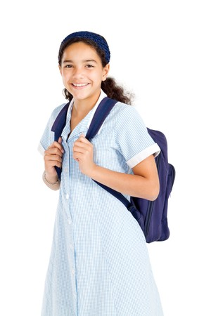 happy junior high student with backpack Stock Photo - 8196946