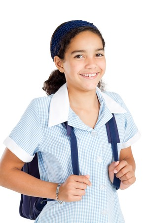 estudiantes de secundaria: estudiante de primaria feliz en uniforme