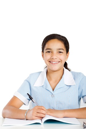 pretty elementary school girl at desk Stock Photo - 8196931