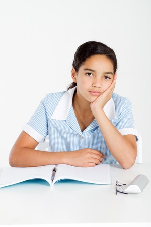 bore: bored school girl Stock Photo