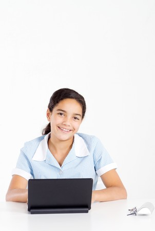 african american school student using laptop photo