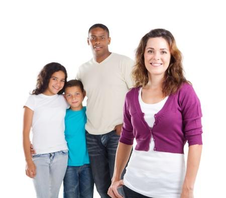 interracial: gl�cklich junge Mutter und Familie im Hintergrund Lizenzfreie Bilder