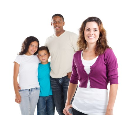 happy young mother and family in background Stock Photo - 8196947