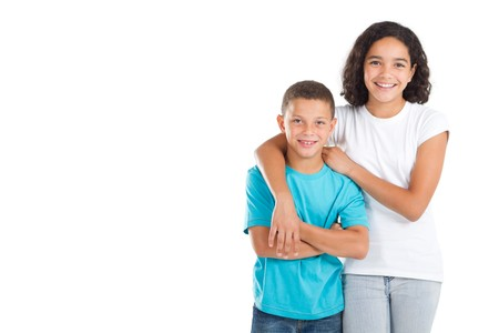 colored brother and sister photo