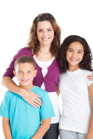 mujer sola: familia de joven feliz  Foto de archivo