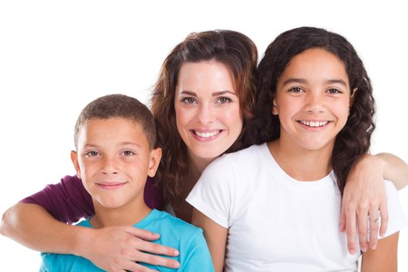 single parent: happy young mom and kids