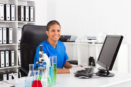 happy african american science student Stock Photo - 8306661