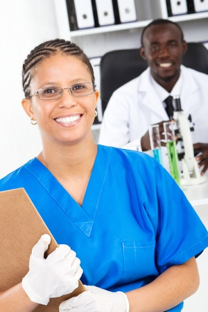 happy african laboratory workers photo
