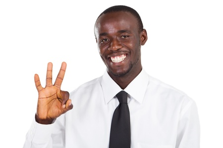 welcome sign: happy african businessman giving ok sign