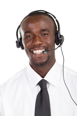 happy african american telephone salesman Stock Photo - 8306647