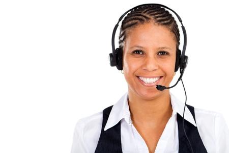 friendly african telephone operator wearing headset Stock Photo - 8306639