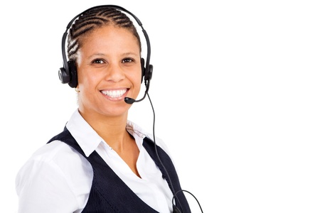 friendly african telephone operator wearing headset Stock Photo - 8306637