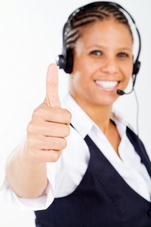 telephone saleswoman: close-up of friendly telephone operator