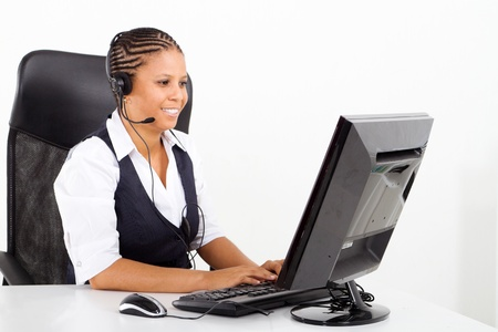 female african american telephone operator Stock Photo - 8306655