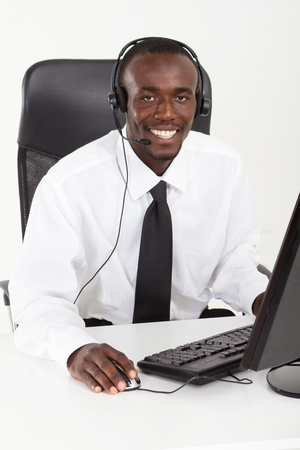 young african phone operator photo