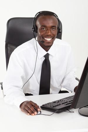phone operator: young african phone operator