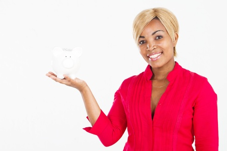 african american woman with piggy bank photo
