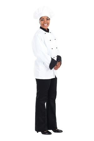 happy african american female chef on white photo