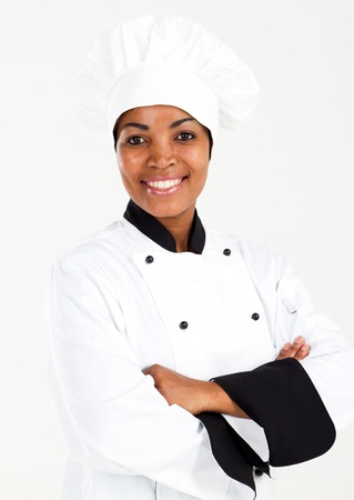 half length portrait of african american female chef over white Stock Photo - 8776859