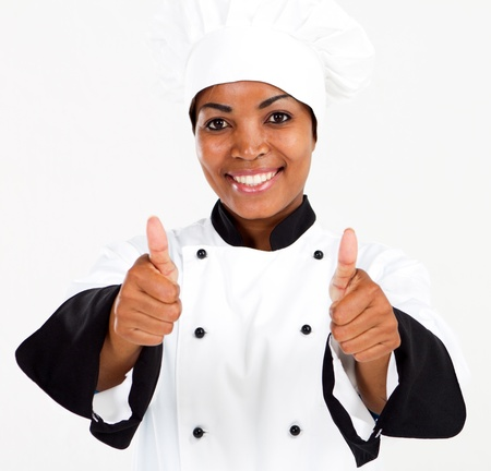 female african american chef thumbs up Stock Photo - 8776864