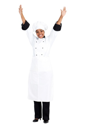 cheerful female african american chef isolated on white photo