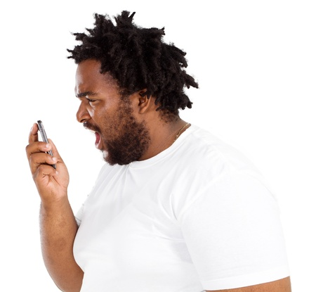 african american man yelling into phone photo