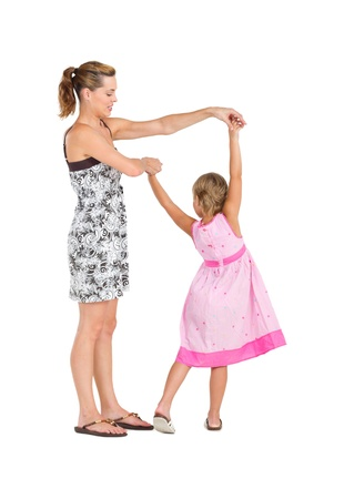 blonde mom: dancing mother and daughter