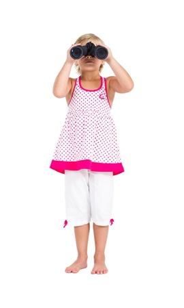 spunky: kid looking through binoculars Stock Photo