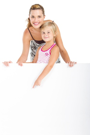 mom and daughter holding signboard Stock Photo - 9095753