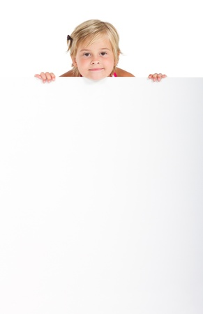 sweet girl holding empty signboard Stock Photo - 8993424