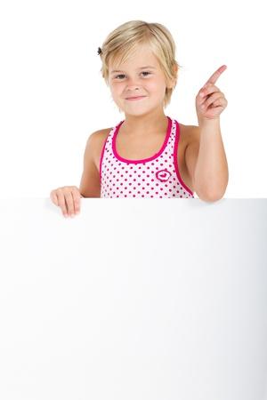 spunky: spunky little girl holding whiteboard Stock Photo