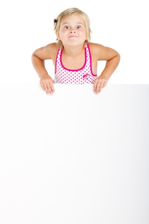 vivacious little girl with blank whiteboard Stock Photo - 8993428