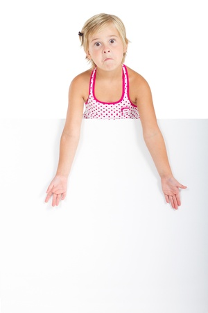 funny face little girl with whiteboard Stock Photo - 8989591