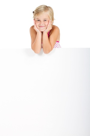 happy girl holding blank signboard Stock Photo - 8993427