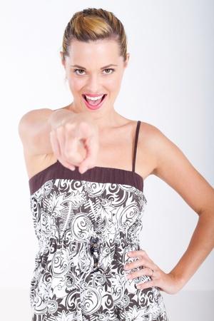 sassy woman pointing forward photo