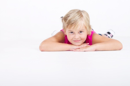 happy relaxed little girl photo